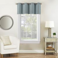 Rings Circle Embroidered Blackout Window Valance in Slate Blue