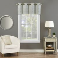 Rings Circle Embroidered Blackout Window Valance in Sea Glass