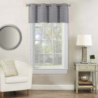 Rings Circle Embroidered Blackout Window Valance in Pewter