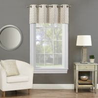 Rings Circle Embroidered Blackout Window Valance in Linen