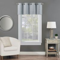Rings Circle Embroidered Blackout Window Valance in Sterling Blue