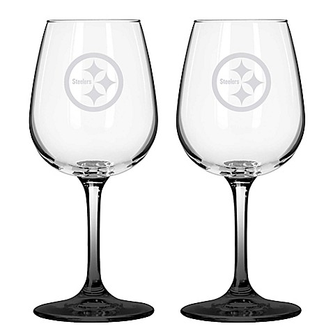 nfl pittsburgh steelers satin etched wine glasses set of 2