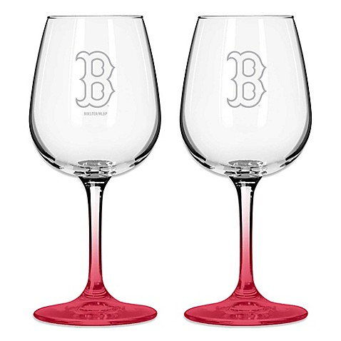 satin etched mlb boston red sox wine glasses set of 2 - Boston Red Sox Bath Accessories