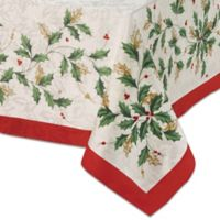 Lenox® Holiday Holly 60-Inch x 84-Inch Oblong Tablecloth in Ivory