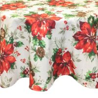 Bardwil Linens Christmas Watercolor 70-Inch Round Tablecloth in Green
