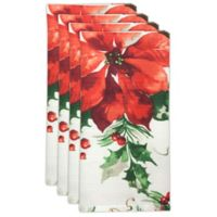 Bardwil Linens Christmas Watercolor Napkins in Green (Set of 4)