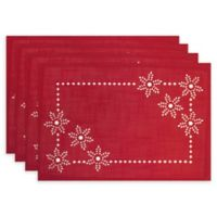 Bardwil Linens Snowflake Impressions Placemats in Red (Set of 4)