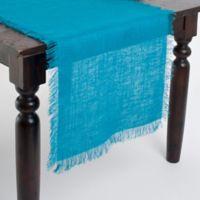 Saro Lifestyle Mari Sati Fringed Burlap 70-Inch Table Runner in Turquoise