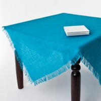 Saro Lifestyle Mari Sati 60-Inch Square Fringed Tablecloth in Turquoise