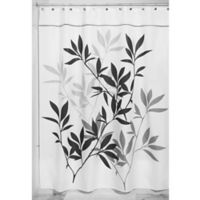iDesign® 54-Inch x 78-Inch Leaves Fabric Shower Curtain in Black/Gray