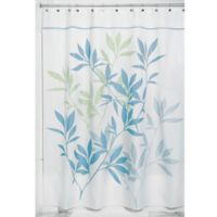 iDesign® 54-Inch x 78-Inch Leaves Fabric Shower Curtain in Soft Blue/Green