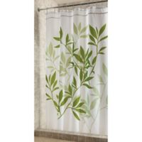 iDesign® 54-Inch x 78-Inch Leaves Fabric Shower Curtain in Green