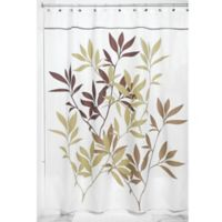iDesign® 72-Inch x 84-Inch Leaves Fabric Shower Curtain in Brown