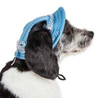 Sea Spot Medium Mesh Brimmed Pet Hat in Blue