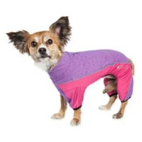 Pet Life® Active Chase-Pacer Heathered Extra-Small Dog Tracksuit in Purple