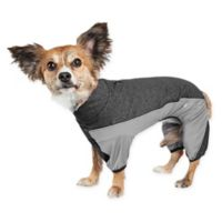 Pet Life® Active Chase-Pacer Heathered Small Dog Tracksuit in Black