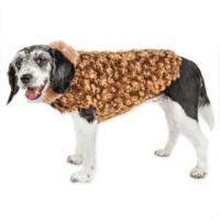 Small Luxe Furpaw Shaggy Fur Dog Coat in Golden Brown