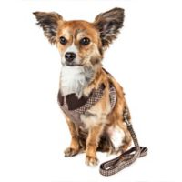 Pet Life® Medium LUXE Houndsome 2-in-1 Mesh Adjustable Dog Harness in Brown