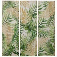 Tropical Seaside 11.81-Inch x 39.37-Inch Wood Wall Art in Green/Natural (Set of 3)