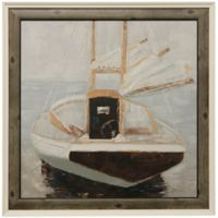 Large Boat Framed 42-Inch x 42-Inch Wood Wall Art in Navy/White