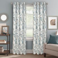 Bastille Floral 84-Inch Grommet Blackout Window Curtain Panel in Indigo