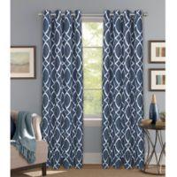 Bastille Lattice 63-Inch Grommet Blackout Window Curtain Panel in Indigo