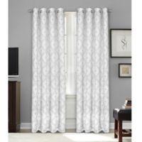 Bastille Geometric 63-Inch Grommet 100% Blackout Window Curtain Panel in Grey