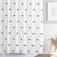 Moby 54-Inch x 78-Inch Shower Curtain in White/Navy