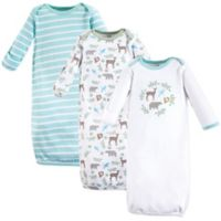 Touched by Nature Size 0-6M 3-Pack Forest Gowns