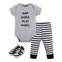Little Treasures Size 12-18M 3-Piece Nap Hard Bodysuit, Pant, and Shoe Set in Grey
