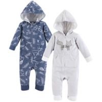 Yoga Sprout Size 6-9M 2-Pack Forest Fleece Union Suit in Black