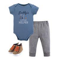 Little Treasures Size 0-3M 3-Piece Daddy's Helper Bodysuit, Pants & Shoes Set