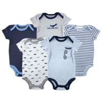 Luvable Friends Size 18-24M 5-Pack Airplane Bodysuits in Blue