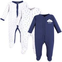 Hudson Baby® Size 6-9M 3-Pack Clouds Sleep & Play Pajamas in Navy