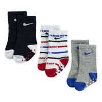 Nike® Just Do It™ Size 6-12M 3-Pack Striped High Crew Socks