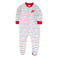 Nike® Newborn Striped Footed Coverall in Light Blue