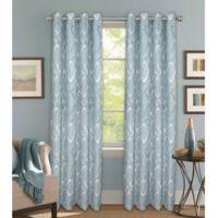 Bastille Lattice 108-Inch Grommet 100% Blackout Window Curtain Panel in Aqua