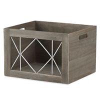 Whitmor Large Wood Shelf Tote Basket With Metal in Grey
