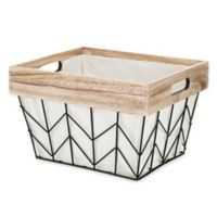 Whitmor Chevron Wire Small Tote Basket with Border and Liner in Natural