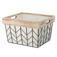 Whitmor Chevron Wire Large Shelf Tote Basekt with Border and Liner in Natural