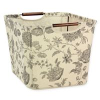 Household Essentials Medium Tapered Storage Bin with Wood Handles in Tan/Black