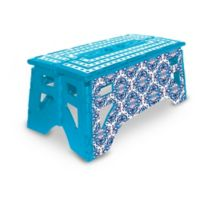 Folding 13-Inch Step Stool in Blue/White