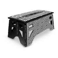 Folding 13-Inch Step Stool in Black/White