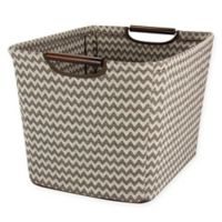 Household Essentials Medium Tapered Storage Bin with Wood Handles in Chevron