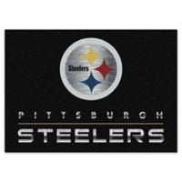 "NFL Pittsburgh Steelers Chrome-Effect 5'4"" x 7'8"" Area Rug in Black"