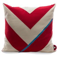 Mimish® Dreamer Square Storage Throw Pillow with Pocket in Vanilla Bean/Chili Red