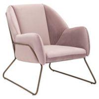 Zuo® Stanza Velvet Armchair in Pink