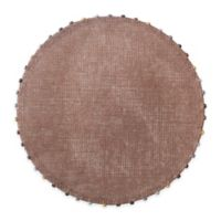 Destination Summer Lindos Round Placemat with Beaded Trim in Mocha