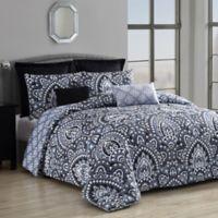 Palma 8-Piece Reversible Queen Comforter Set in Black