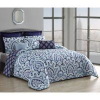 Palma 8-Piece Reversible King Comforter Set in Blue